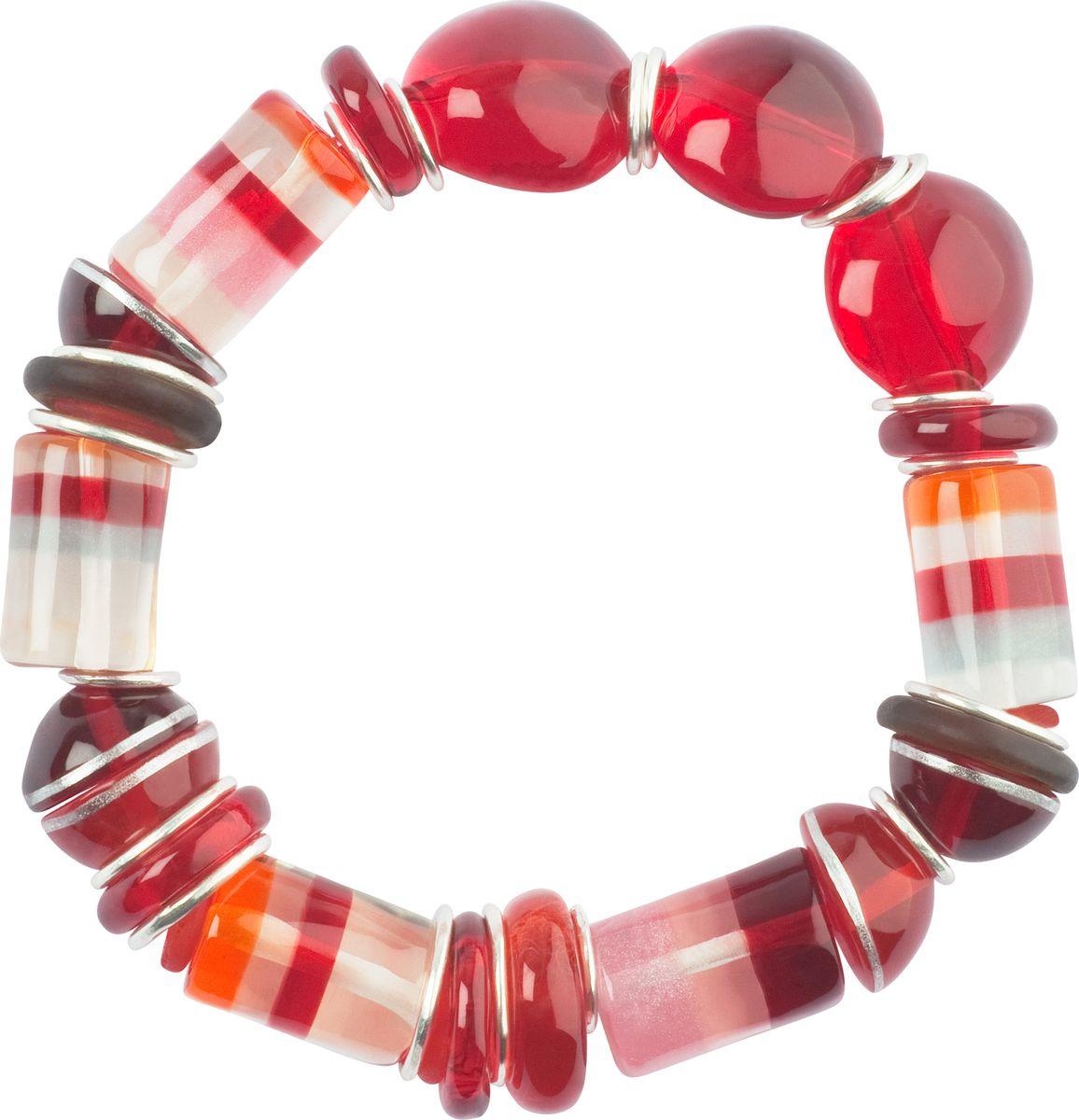 Браслет Lalo Treasures, цвет: красный, розовый. B2526/2B2526/2Оригинальный браслет Lalo Treasures выполнен из ювелирной смолы и металлического сплава. Декоративные элементы собраны на эластичной резинке, с помощью которой браслет растягивается до необходимого размера. Стильное украшение поможет дополнить любой образ и привнести в него завершающий яркий штрих.