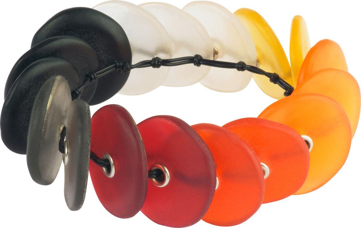 Браслет Lalo Treasures, цвет: оранжевый, черный. B2449/1B2449/1Оригинальный браслет Lalo Treasures выполнен из ювелирной смолы и металлического сплава. Декоративные элементы собраны на крепкий жгутик. Стильное украшение поможет дополнить любой образ и привнести в него завершающий яркий штрих.