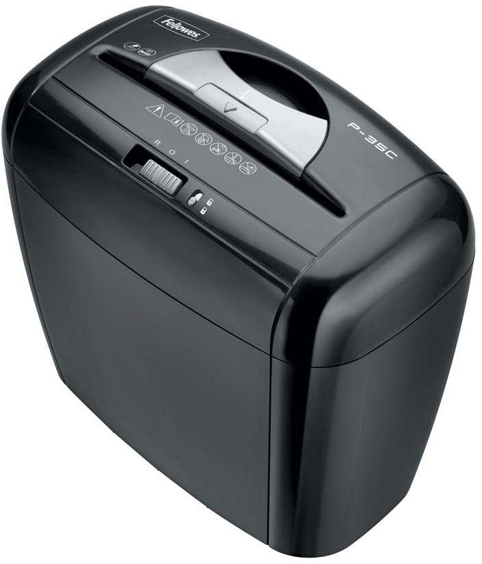 Fellowes Powershred P-35C, Black шредерFS-32136Самый продаваемый уничтожитель документов с перекрестной резкой Powershred Р-35C предназначен для персонального использования с рекомендуемой нагрузкой до 20 листов в день. Производительность – 5 листов. Резка на фрагменты 4х40мм обеспечивает P-4 уровень секретности по DIN 66399 . Удачный дизайн, отличные технические характеристики и умеренная цена сделали эту модель одной из самых продаваемых на российском рынке.