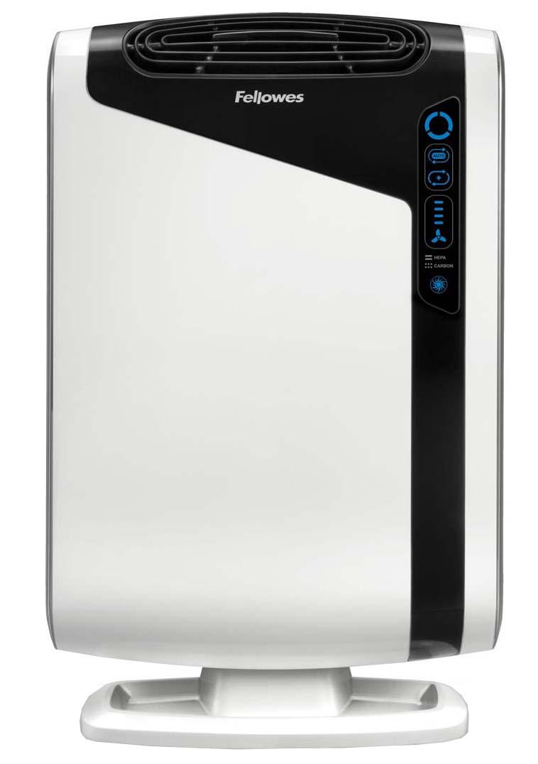 Fellowes Aeramax DX95 воздухоочистительFS-93938Воздухоочиститель Fellowes AeraMax DX95 (fs-93938) предназначен для эффективной очистки воздуха в помещении площадью до 28 м2 Воздух проходит 4 степени очистки, что позволяет значительно улучшить качество воздуха внутри помещений, удалив 99.97% загрязняющих частиц. Угольный фильтр удаляет запахи, химические загрязнения и крупные частицы, переносимые по воздуху. True HEPA фильтр задерживает 99.97% частиц размером от 0.3 микрон, включая споры плесени, пыльцу растений, пылевых клещей, большинство бактерий, аллергенов и сигаретный дым. Антибактериальная обработка AeraSafe™– встроенная защита от роста бактерий, вызывающих неприятный запах, плесени и грибков на фильтре True HEPA. Технология PlasmaTRUE™ безопасно удаляет содержащиеся в воздухе загрязняющие вещества, мгновенно нейтрализуя вирусы и микробы. Воздухоочиститель прост в работе и обладает удобным пользовательским интерфейсом. В режиме работы АВТО, датчики оценивают изменения качества воздуха в помещении, на основании чего...