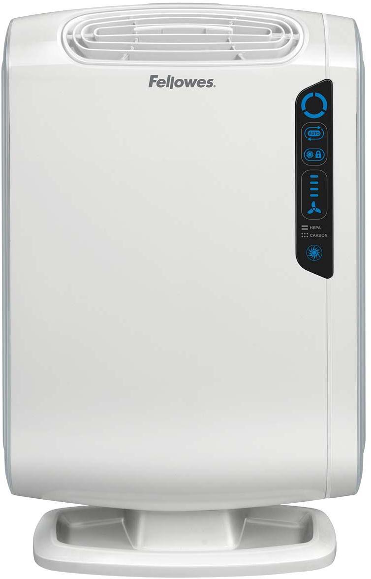 Fellowes Aeramax DB55 воздухоочистительFS-94018Воздухоочиститель для семей с маленькими детьми DB5/DB55, предназначен для помещений до 8/18 м2 Воздухоочиститель Fellowes AeraMax DB55 (fs-9401801) предназначен для эффективной очистки воздуха в помещении площадью до 8м2. Воздух проходит 4 степени очистки, что позволяет значительно улучшить качество воздуха внутри помещений, удалив 99.97% загрязняющих частиц. Угольный фильтр удаляет запахи, химические загрязнения и крупные частицы, переносимые по воздуху. True HEPA фильтр задерживает 99.97% частиц размером от 0.3 микрон, включая споры плесени, пыльцу растений, пылевых клещей, большинство бактерий, аллергенов и сигаретный дым. Антибактериальная обработка AeraSafe™– встроенная защита от роста бактерий, вызывающих неприятный запах, плесени и грибков на фильтре True HEPA. Технология PlasmaTRUE™ безопасно удаляет содержащиеся в воздухе загрязняющие вещества, мгновенно нейтрализуя вирусы и микробы. Воздухоочиститель прост в работе и обладает удобным пользовательским интерфейсом. В...