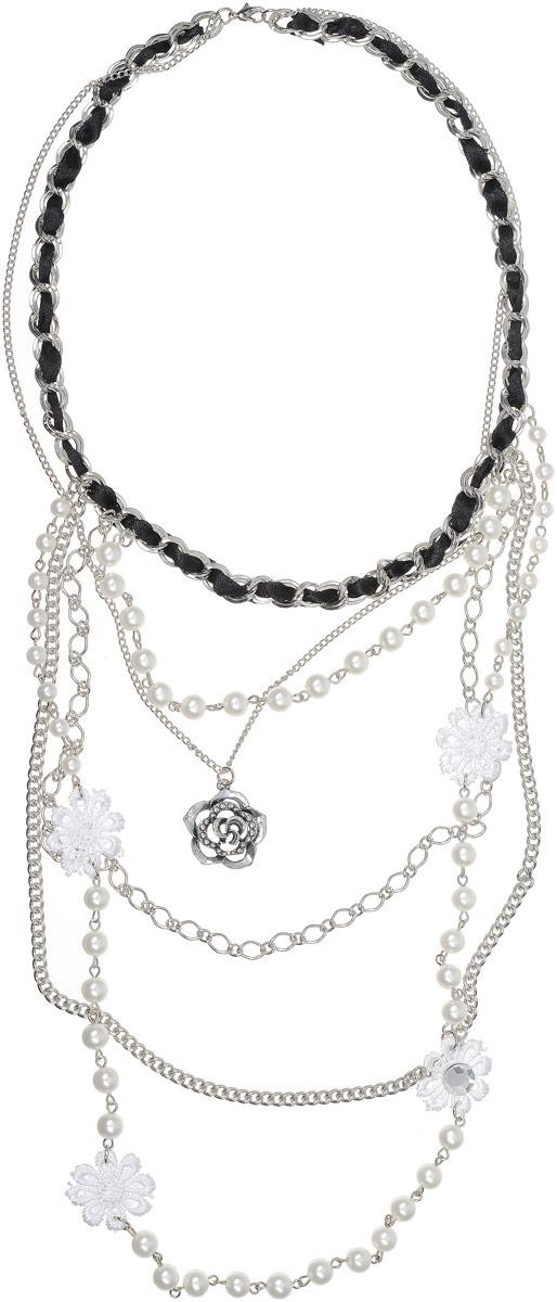 Колье Art-Silver, цвет: белый. 7538-5147538-514Колье Art-Silver выполнено из бижутерного сплава. Центральная часть дополнена элементами из текстиля, жемчуга и кристаллов. Застегивается Колье на карабин.