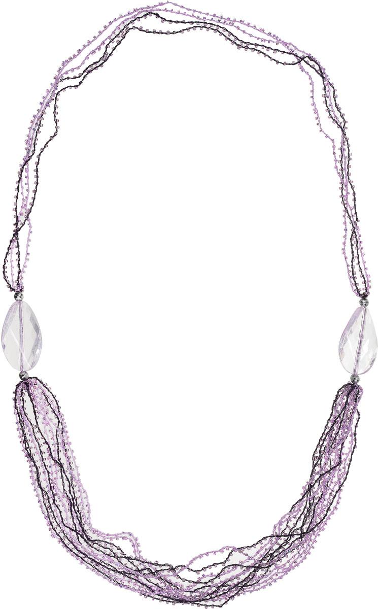 Ожерелье Art-Silver, цвет: фиолетовый. 28882-32028882-320Ожерелье Art-Silver на текстильной нитке оформлено полимерными и металиическими бусинами, дополнено бисером.