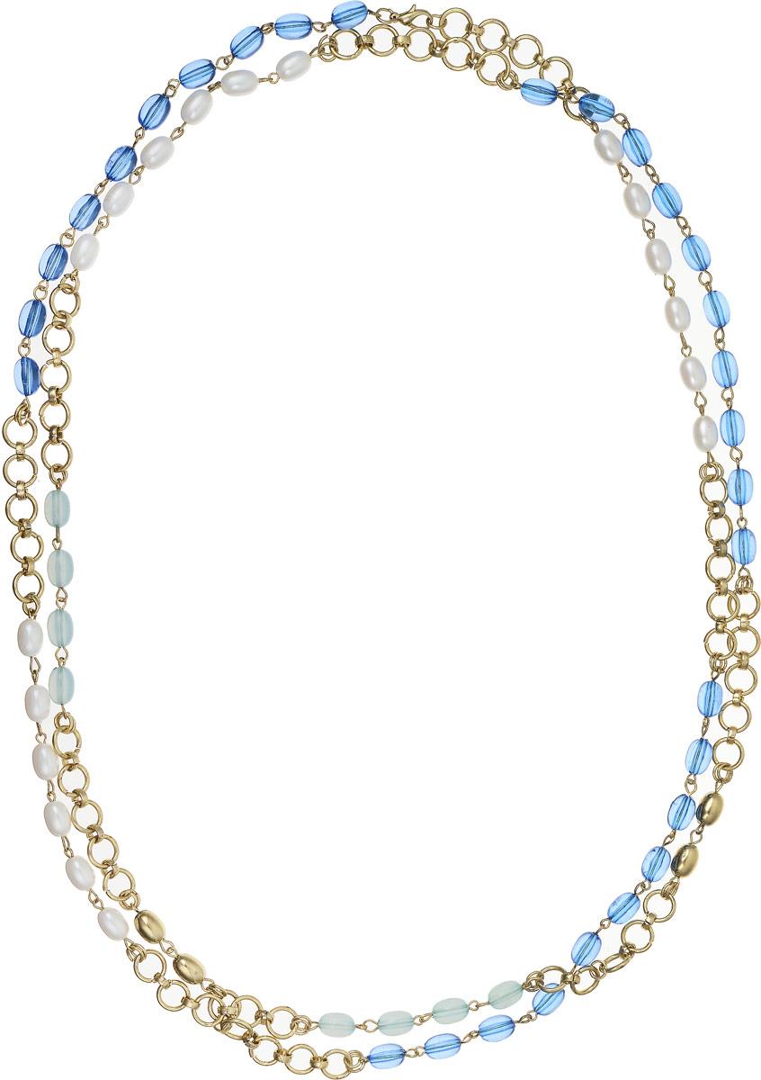 Ожерелье Art-Silver, цвет: синий, белый. 0382Ф-3820382Ф-382Ожерелье Art-Silver выполнено из бижутерного сплава, оформлено полимерными бусинами и жемчугом. Модель застегивается на карабин.