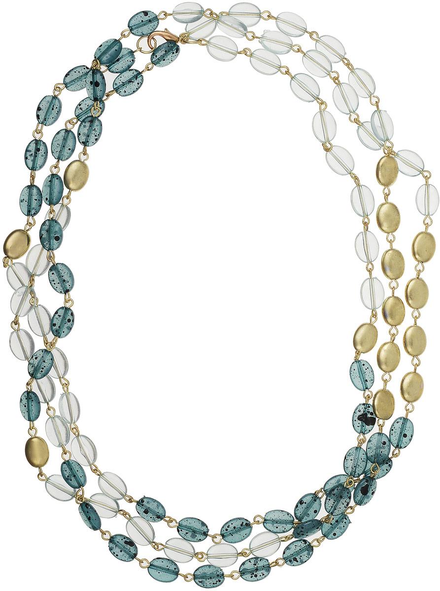 Ожерелье Art-Silver, цвет: зеленый, золотой. 22736-46022736-460Ожерелье Art-Silver выполнено из полимера с фурнитурой из бижутреного сплава. Часть бусин оформлена позолотой. застегивается модель на карабин.