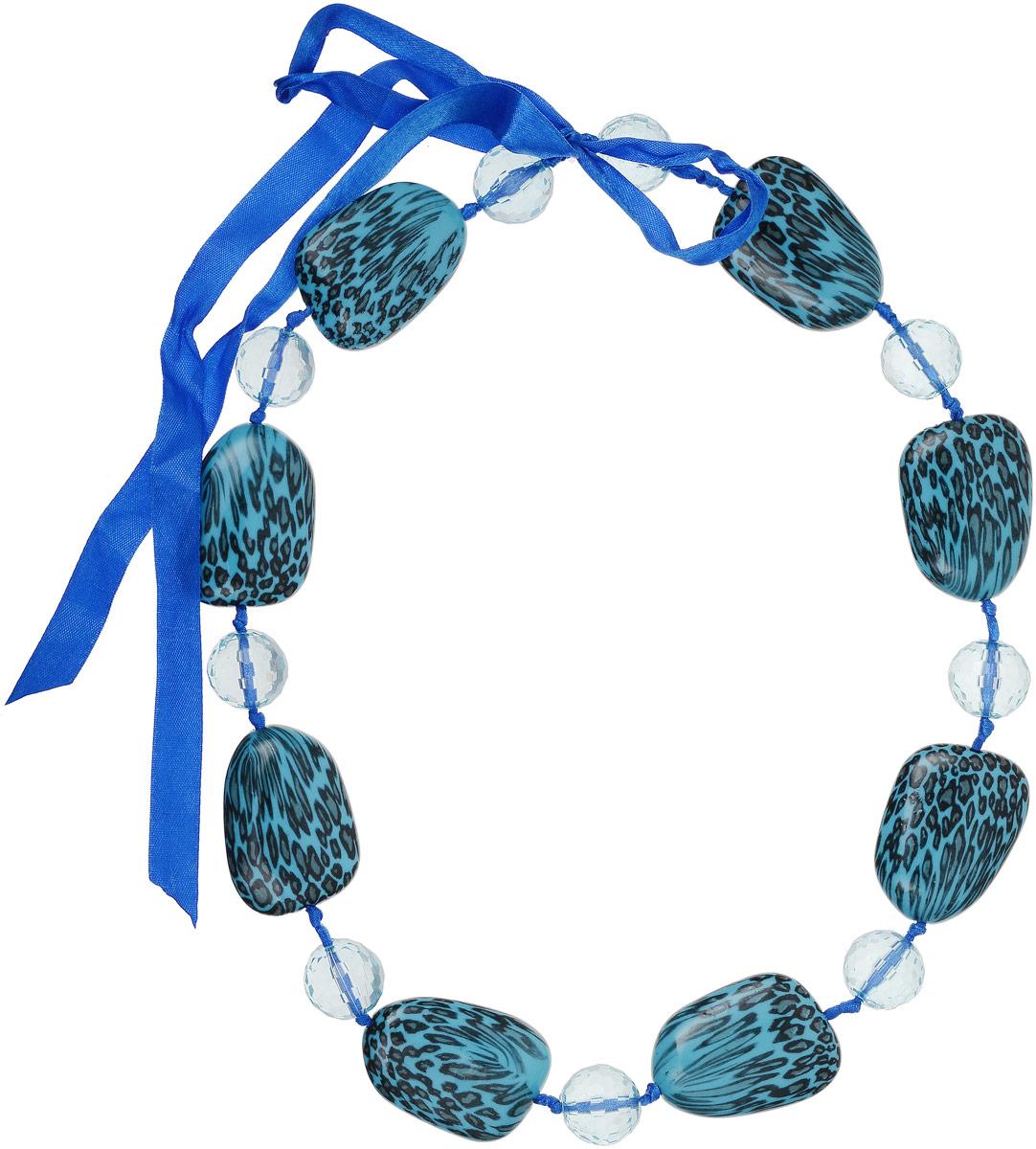 Ожерелье Art-Silver, цвет: бирюзовый. 35355-48235355-482Ожерелье Art-Silver на текстильной основе оформлено крупными искусственными камнями и бусинами. Модель завязывается на ленту.