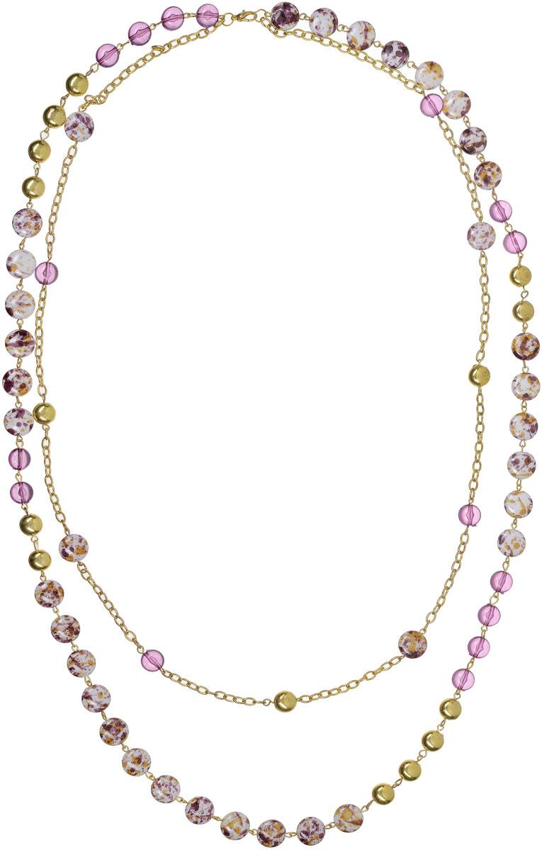 Ожерелье Art-Silver, цвет: золотой, фиолетовый. 3820-3823820-382Ожерелье Art-Silver выполнено из бижутерного сплава с позолотой и дополнено элементами из полимера. Модель с двумя ярусами, застегивается на карабин.