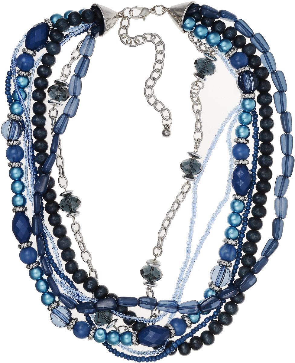 Ожерелье Art-Silver, цвет: темно-синий. 27358-52627358-526Ожерелье Art-Silver выполнено из бижутерного сплава, дополнено элементами из полимера и дерева. Модель из семи ярусов застегивается на карабин, регулируется по длине.