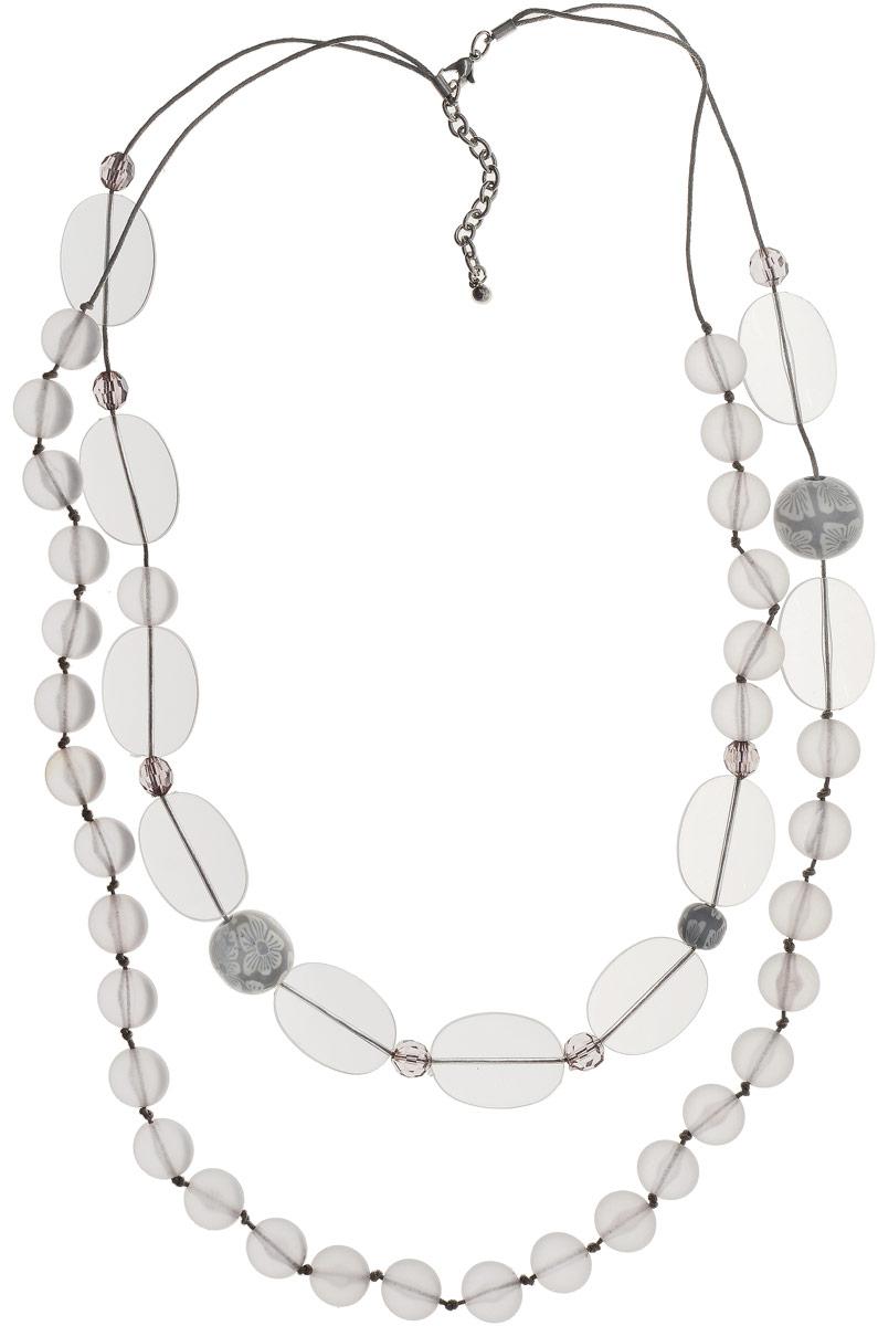 Ожерелье Art-Silver, цвет: серый. 27988-45027988-450Ожерелье Art-Silver выполнено из бижутерного сплава, оформлено крупными бусинами и кристаллами. Модель застегивается на карабин и регулируется по длине.