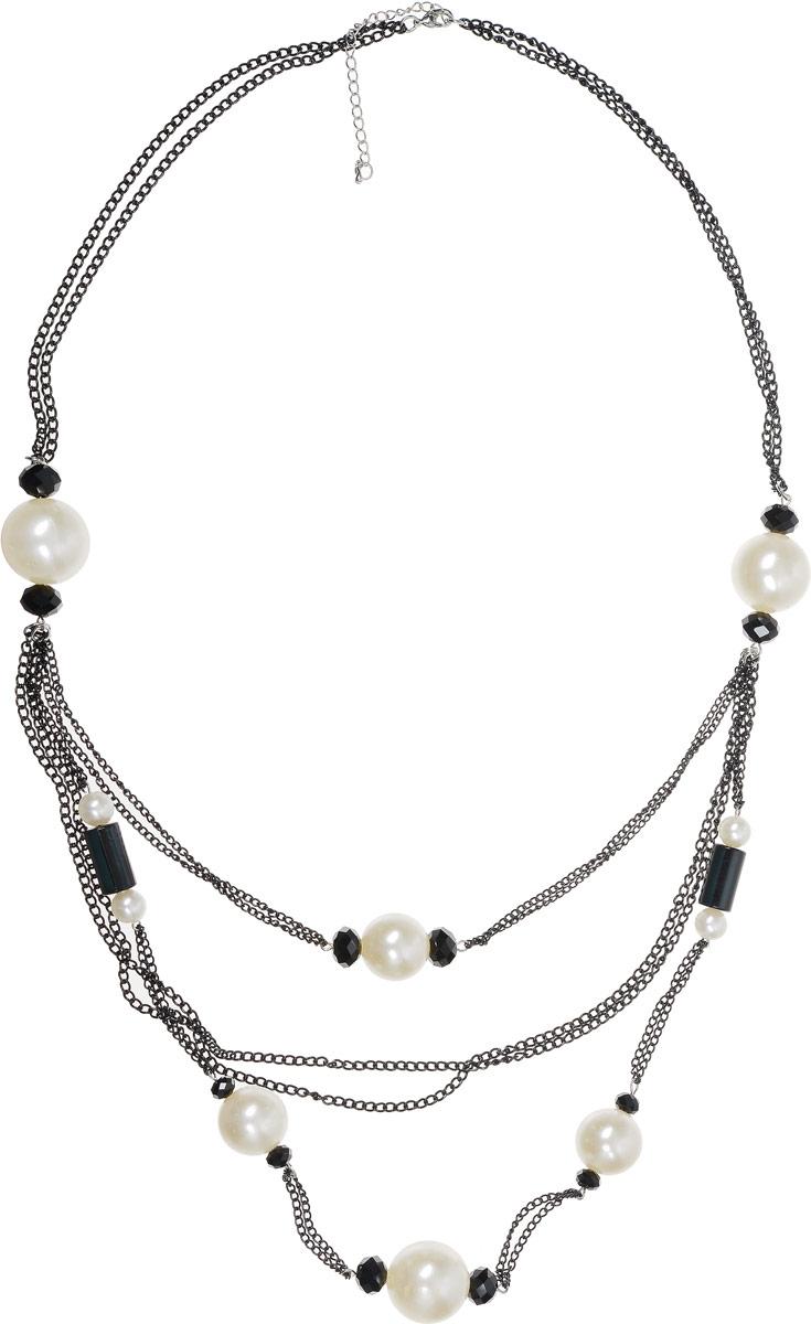 Колье Art-Silver, цвет: черный, белый. 33676-43633676-436Колье Art-Silver выполнено из бижутерного сплава. В центре модель оформлена тремя ярусами с массивным жемчугом и кристаллами. Изделие застегивается на карабин, регулируется по длине.