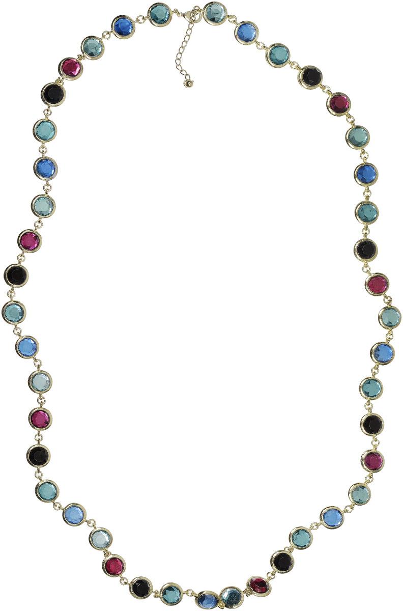 Ожерелье Art-Silver, цвет: золотой. 27158-55427158-554Колье Art-Silver выполнено из бижутерного сплава с позолотой и дополнено вставками с кристаллами. Модель застегивается на карабин и регулируется по длине.