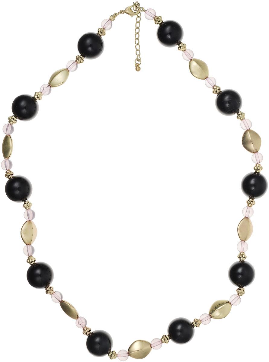 Ожерелье Art-Silver, цвет: черный, золотой. 25873-36625873-366Ожерелье Art-Silver на основе из текстильной нитки состоит из полимерных бусин оригинальной формы. Фурнитура изготовлена из бижутерного сплава. Модель застегивается на карабин, регулируется по длине.