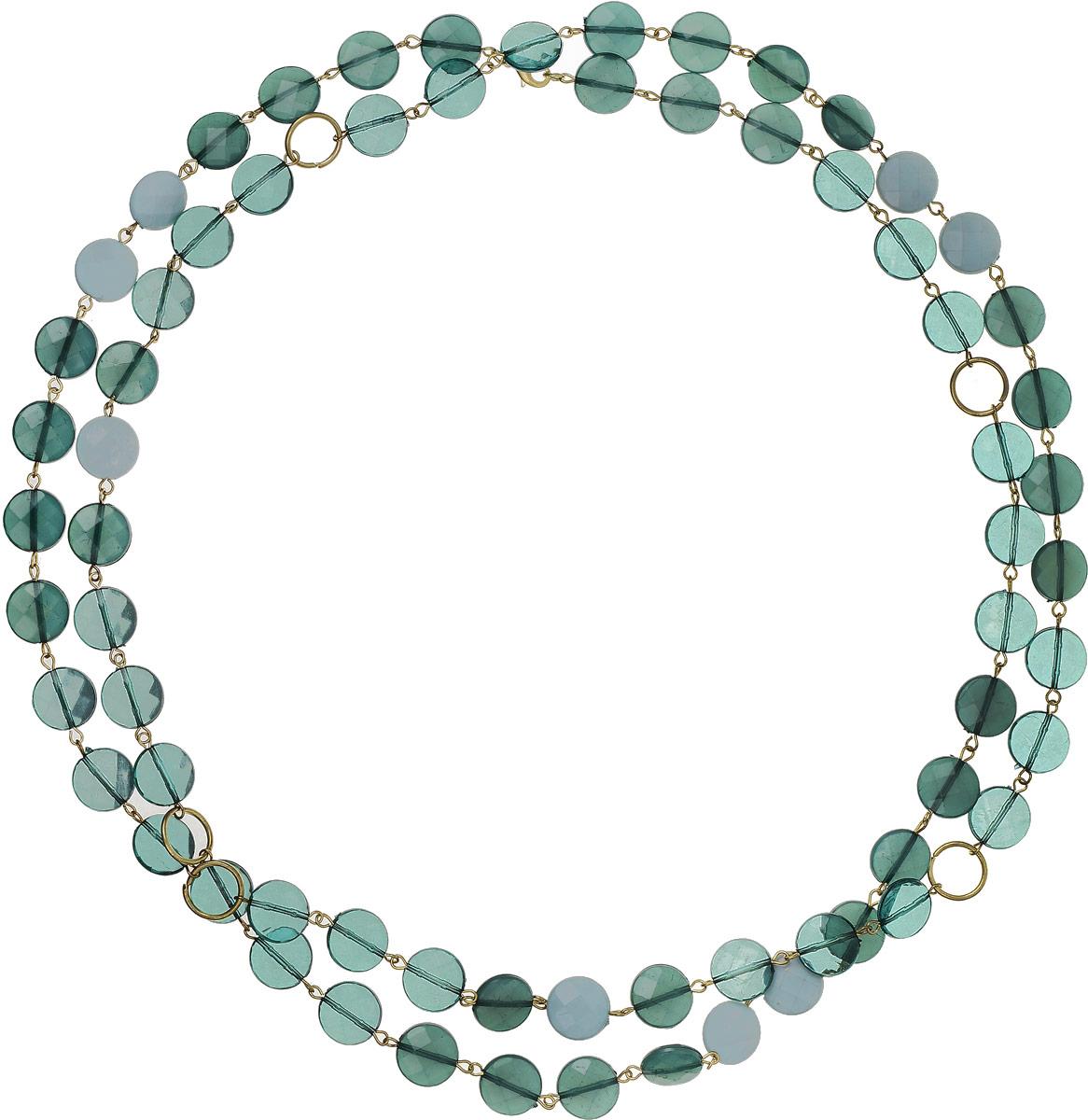 Ожерелье Art-Silver, цвет: зеленый. 25779-38225779-382Ожерелье Art-Silver выполнено из бижутерного сплава и дополнено полимерными бусинами. Модель без замка.
