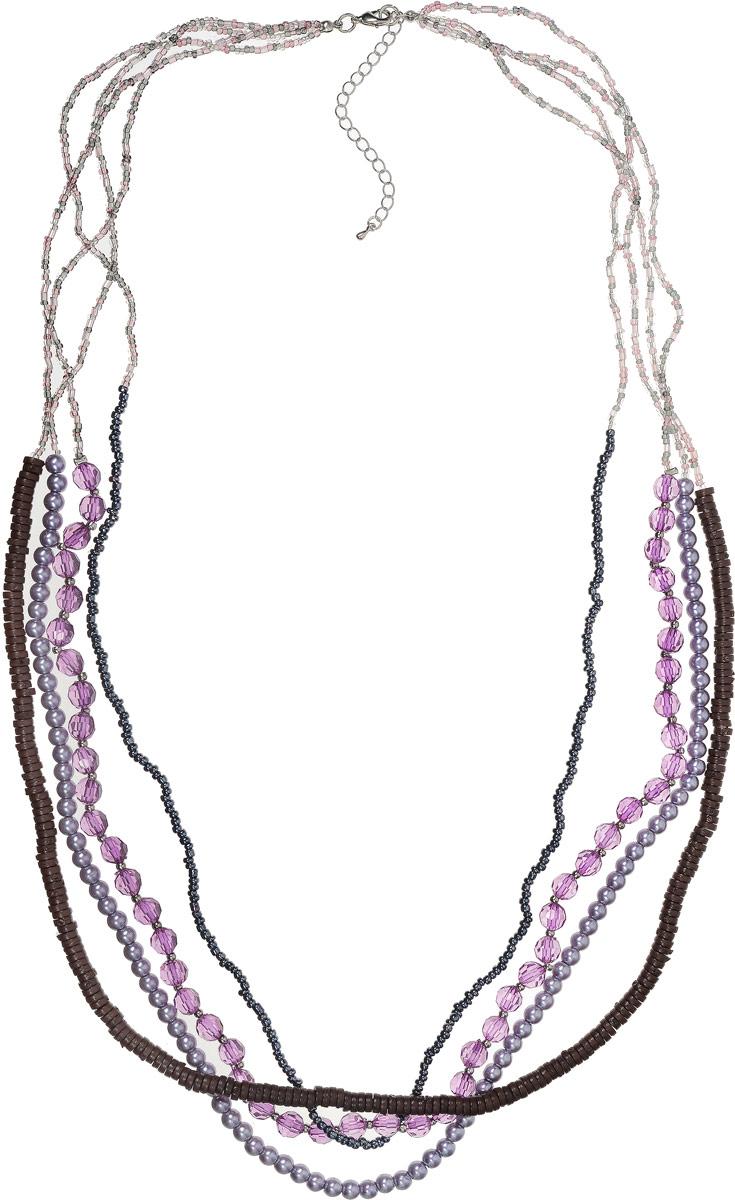 Ожерелье Art-Silver, цвет: сиреневый. 36876-35836876-358Ожерелье Art-Silver выполнено из бижутерного сплава, состоит из четырех ярусов, оформлено кристаллами и бисером. Модель застегивается на карабин и регулируется по длине.