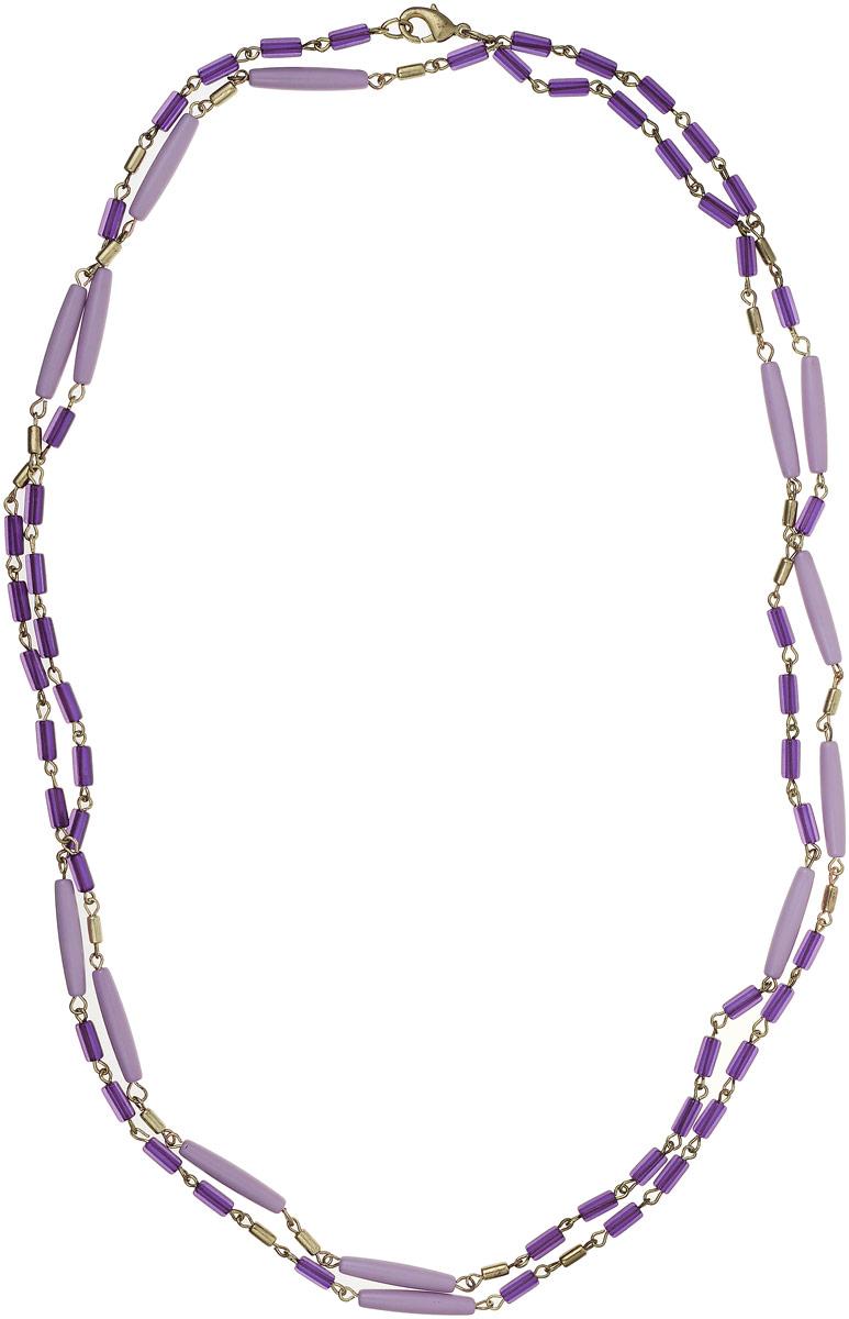 Ожерелье Art-Silver, цвет: фиолетовый. 25771-27625771-276Ожерелье Art-Silver выполнено из бижутерного сплава и дополнено элементами из полимера. Модель застегивается на карабин.