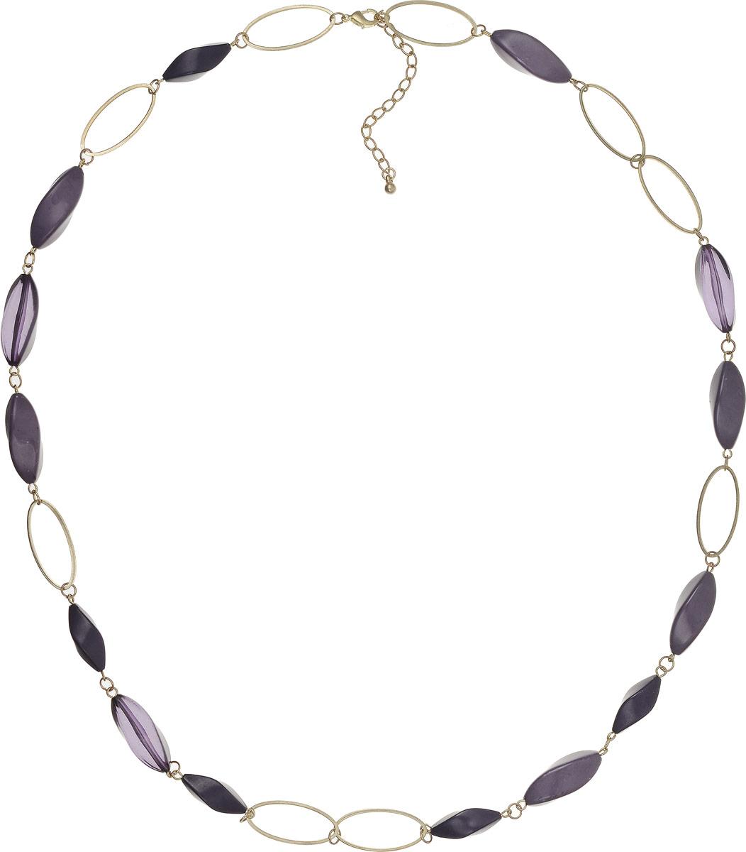 Ожерелье Art-Silver, цвет: сиреневый. 23982-30223982-302Ожерелье Art-Silver выполнено из бижутерного сплава, оформлено крупными элементами из полимера. Модель застегивается на карабин и регулируется по длине.