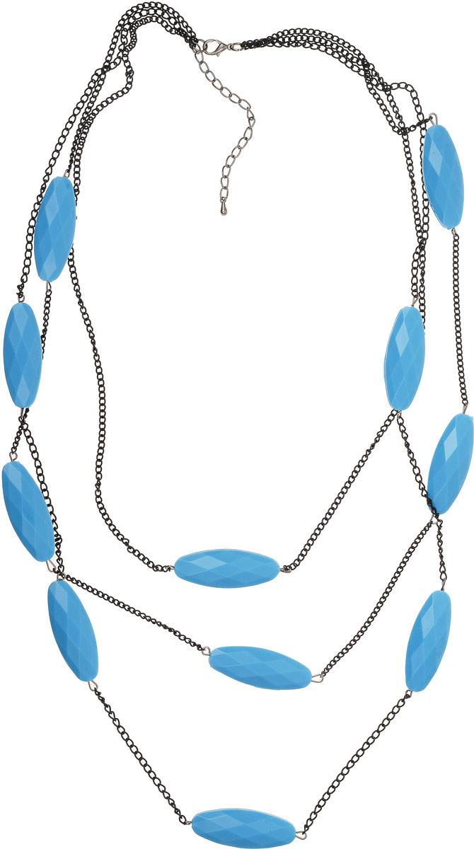 Колье Art-Silver, цвет: голубой. 4834-2464834-246Колье Art-Silver выполнено из бижутерного сплава и дополнен элементами из полимера. Модель оформлена тремя ярусами, удлиняющимися к центру. Модель застегивается на карабин и регулируется по длине.