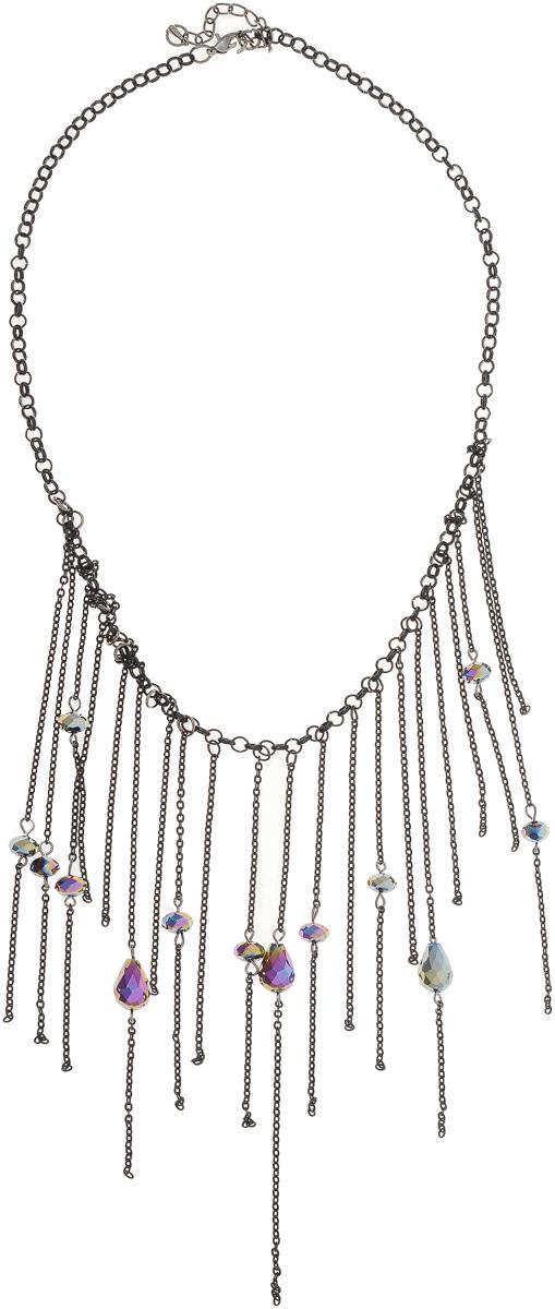 Колье Art-Silver, цвет: черный. 44635-38644635-386Колье Art-Silver выполнено из бижутерного сплава. По центру оформлена цепочками и кристаллами. Модель застегивается на карабин и регулируется по длине.