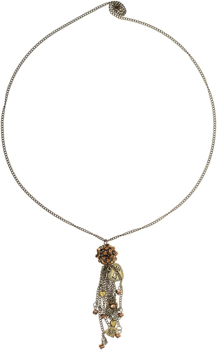 Кулон Art-Silver, цвет: золотой. 09007088-47409007088-474Оригинальный кулон от Art-Silver выполнен из позолоченного бижутерного сплава и дополнен кристаллами. Цепочка застегивается на надежный карабин.