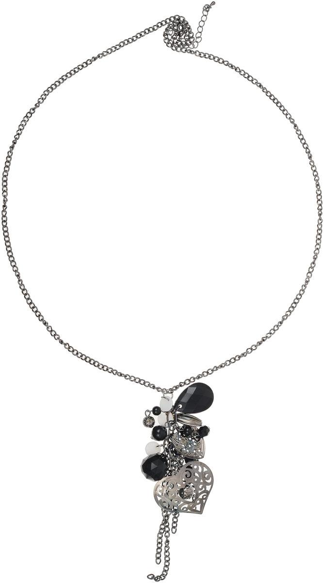Колье Art-Silver, цвет: черный. 37099-26237099-262Колье Art-Silver выполнено из полимерного сплава. Модель дополнена крупным декоративным элементом со вставками из полимерного материала. Застегивается колье на карабин, позволяющий регулировать длину.