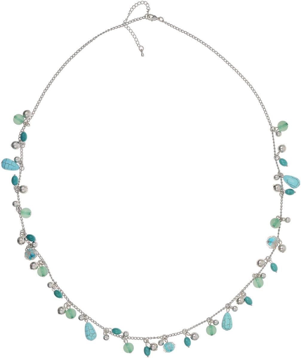 Ожерелье Art-Silver, цвет: бирюзовый. 43142-33043142-330Ожерелье Art-Silver выполнено из бижутерного сплава, полимерными бусинами и бирюзой. Модель застегивается на карабин и регулируется по длине.