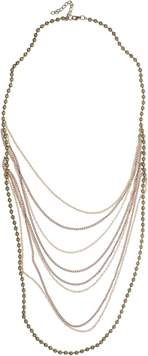Колье Art-Silver, цвет: золотой. 22772-32022772-320Колье Art-Silver выполнено из бижутерного сплава и дополнено бусинами из полимера. Центральная часть оформлена ярусами. Модель застегивается на карабин и регулируется по длине.