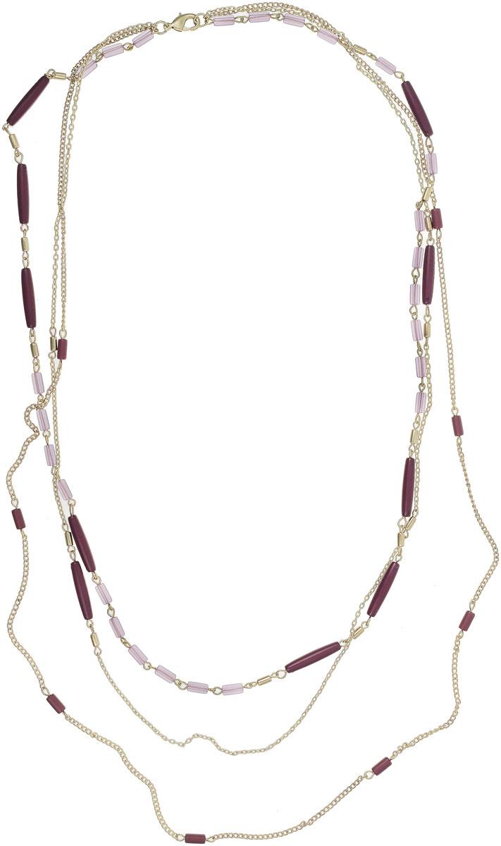 Ожерелье Art-Silver, цвет: фиолетовый. 25928-29225928-292Ожерелье Art-Silver выполнено из бижутерного сплава с позолотой, оформлено полимерными элементами. Модель застегивается на карабин.