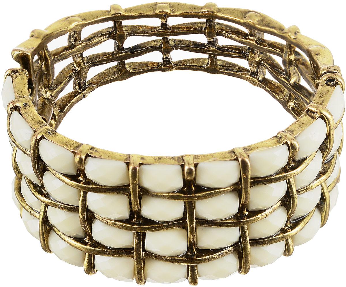 Браслет женский Art-Silver, цвет: золотой. 17747-57617747-576Браслет Art-Silver выполнен из бижутерного сплава с позолотой и дополнен вставками из полимера. Модель застегивается на шарнирный замок.