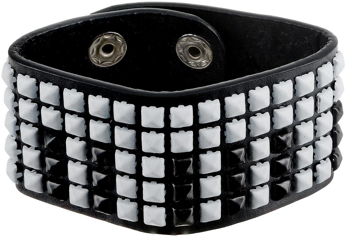 Браслет женский Art-Silver, цвет: черный, белый. 14258-22014258-220Браслет Art-Silver выполнен из натуральной кожи, дополнен вставками из полимерных шипов. Модель застегивается на кнопки из бижутерного сплава, при помощи которых можно регулировать длину.
