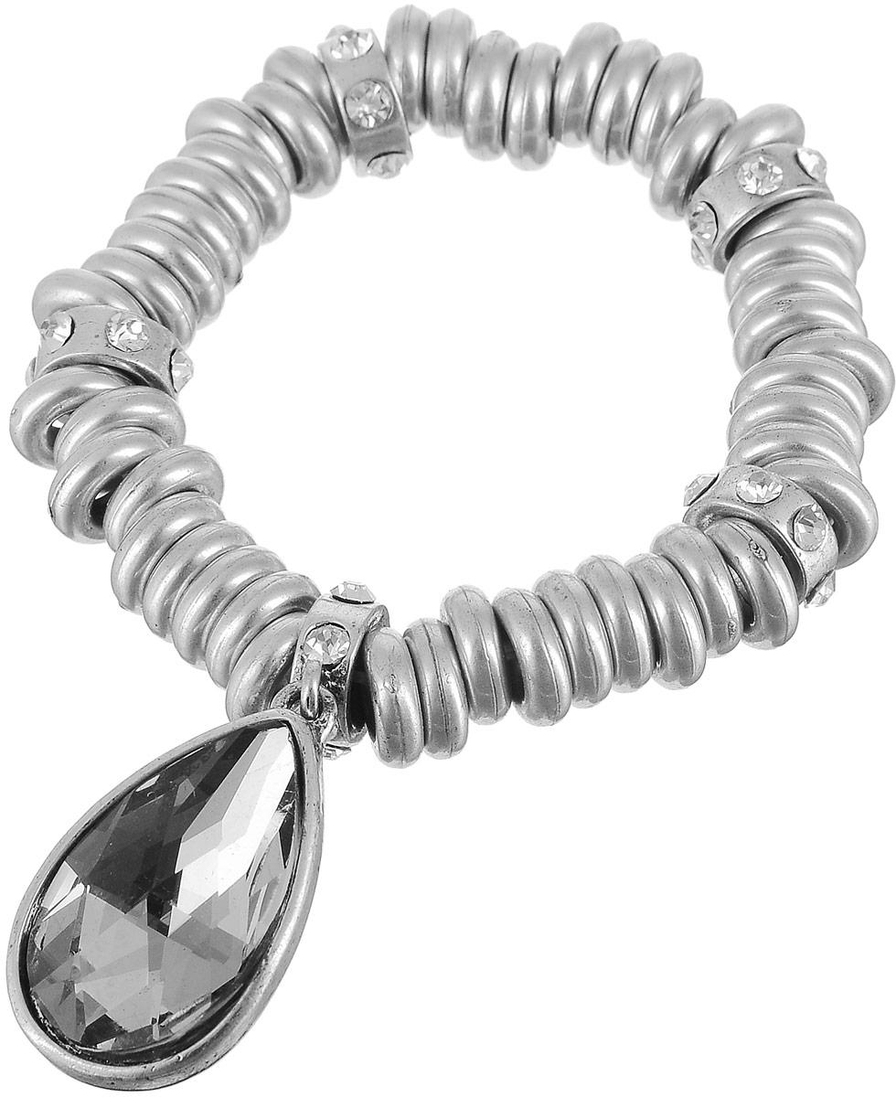 Браслет женский Art-Silver, цвет: серебряный. 17550-65017550-650Браслет Art-Silver выполнен из бижутерного сплава в виде мелких колец. Модель на эластичной резинке, оформлена вставкой из циркона и кристалла.