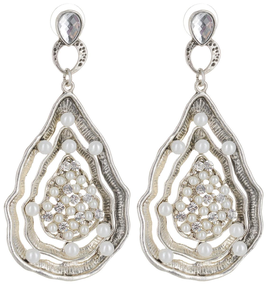Серьги Art-Silver, цвет: серебряный. 00456-34200456-342Серьги Art-Silver выполнены из металлического сплава. Декоративный элемент выполнен со вставками из полимерного материла и циркона. Изделие застегивается с помощью замка-петли с заглушкой.