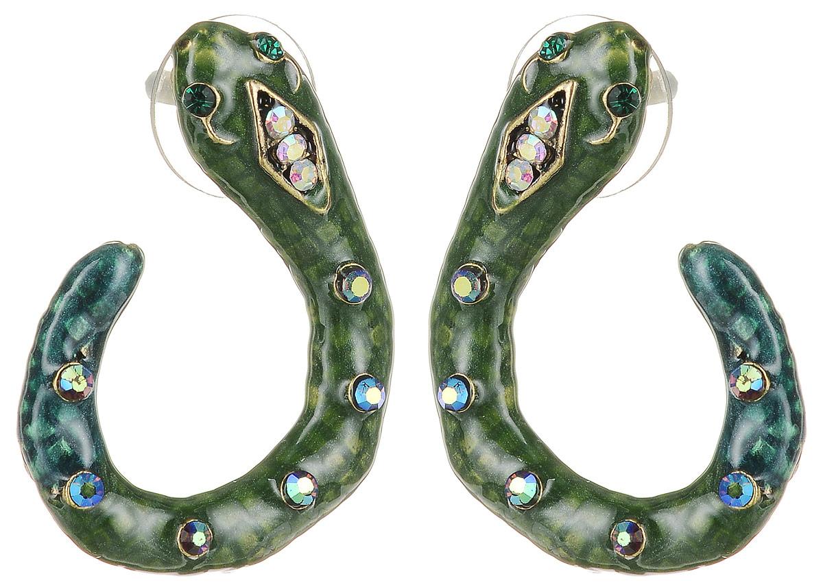 Серьги Art-Silver, цвет: темно-зеленый. 36592-34836592-348Серьги в виде змеек Art-Silver выполнены из бижутерного сплава. Декоративный элемент выполнен из полимерного материла и дополнен вставками из циркона. Изделие застегивается с помощью замка-гвоздика с заглушкой.