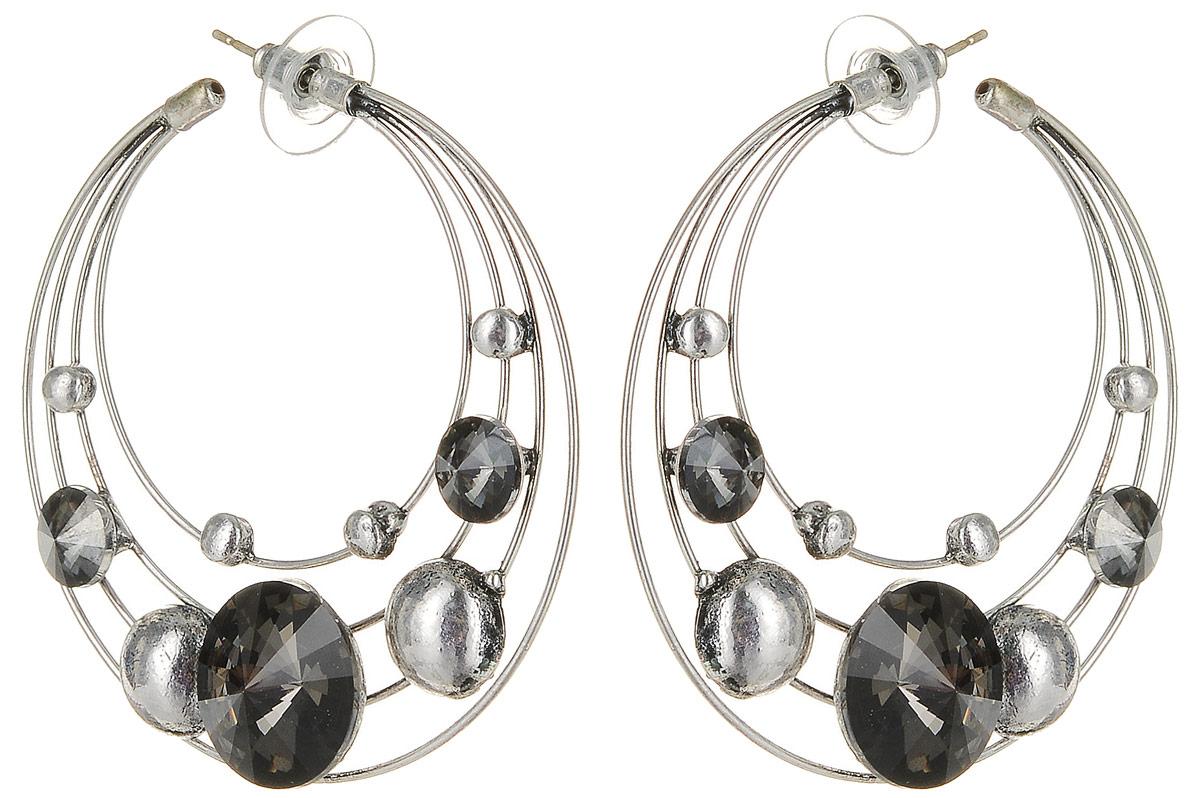 Серьги Art-Silver, цвет: серебряный. 33554-53633554-536Серьги Art-Silver выполнены из бижутерного сплава. Модель со множеством колец дополнена кристаллами. Изделие застегивается с помощью замка-петли с заглушкой.