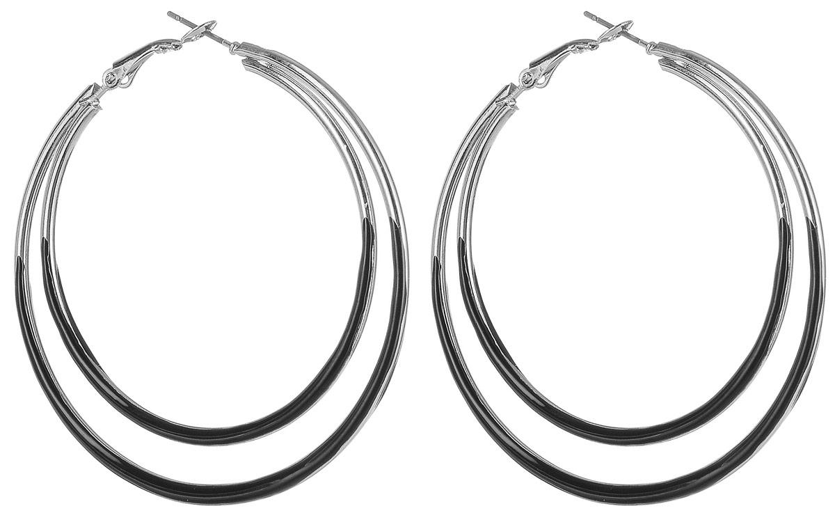 Серьги Art-Silver, цвет: черный. 2648-3202648-320Серьги-кольца Art-Silver выполнены из эмалированного бижутерного сплава. Изделие застегивается с помощью итальянского замка.