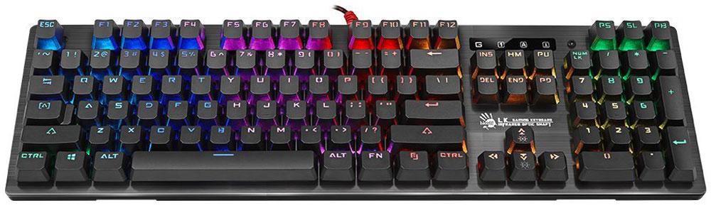 A4Tech Bloody B820R, Black игровая клавиатура4711421926997Клавиатура A4Tech Bloody B820R обладает уникальным дизайном и высоким качеством производства. Тщательный контроль исполнения деталей, удобство и эргономичность по праву поднимают клавиатуру на топовые позиции среди аналогичных устройств. Клавиатура A4Tech Bloody B820R предназначена для полного погружения в игровой процесс. Инновационная технология Light Strike использует оптические переключатели, обеспечивающие непревзойденное время отклика 0.2 мс! Оптический переключатель обладает высокой долговечностью, ультрапрочностью и износостойкостью, что делает его привлекательным для геймеров. Ход срабатывания - с расстояния 3 мм, что на 25% быстрее, чем у металлических переключателей (у обычных металлических переключателей ход срабатывания начинается с расстояния 4 мм). Реагирует на световых скоростях без задержек. Технология Long-lasting создает звук при печати, который не исчезнет через несколько месяцев активного использования. ...