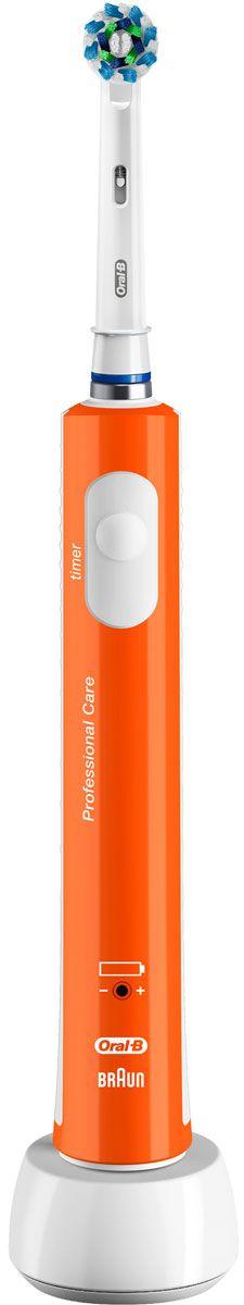 Oral-B 450 Cross Action, Orange электрическая зубная щетка81606323Электрическая зубная щетка Oral-B PRO 450 удаляет до двух раз больше зубного налета, чем мануальная зубная щетка. Благодаря профессионально разработанному дизайну насадки CrossAction, щетинки, расположенные под углом 16?, окружают каждый зуб, бережно удаляя налет даже из труднодоступных мест и вдоль линии десны. Комплектация: аккумуляторная электрическая зубная щетка оранжевого цвета с 1 режимом чистки: «Ежедневная чистка» (1 шт.), сменная насадка CrossAction (1 шт.), зарядное устройство (1 шт.) Подходит для детей с 3 лет. 8800 возвратно-вращательных движений + 20000 пульсирующих движений. Перейдите на новый уровень чистки за 2 минуты!