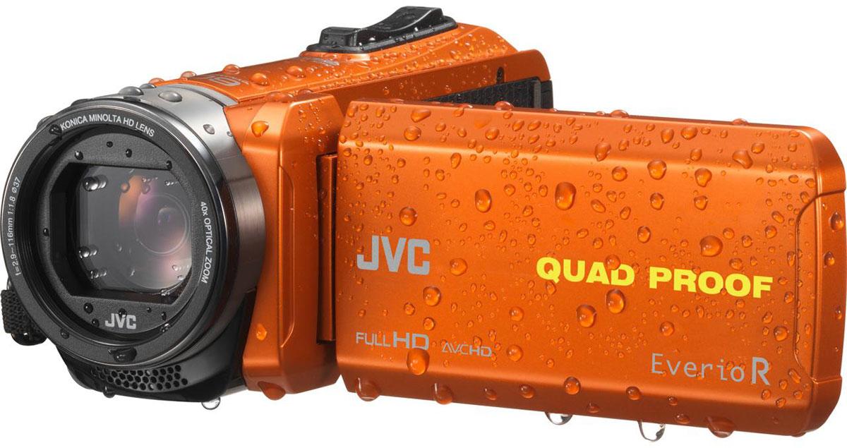 JVC GZ-R435DEU, Orange цифровая видеокамераGZ-R435DEUJVC GZ-R435DEU - видеокамера с 4 степенями защиты Quad-Proof, встроенным аккумулятором, который обеспечит работу камеры до 5 часов и встроенной флеш-памятью объемом 4 Гб. Данная модель оснащена КМОП сенсором с разрешением 2,5 Мп с обратной подсветкой, 40-кратным оптическим зумом и системой стабилизации изображения. Видеокамера поддерживает запись при закрытом ЖК экране, а также оснащена резьбой 37 мм для установки светофильтров или широкоугольного конвертора. Модель водонепроницаема при погружении на глубину до 5 м. После активного дня, проведённого на свежем воздухе, её можно вымыть под проточной водой. Прочный корпус выдерживает падение с высоты до 1,5 м. Он защищён от влаги и пыли и рассчитан на работу в широком диапазоне температур. Аккумулятор встроен внутрь корпуса, что обеспечивает ещё более высокую защиту от влаги и позволяет существенно сократить опасность повреждения видеокамеры при замене батарей в плохую погоду.