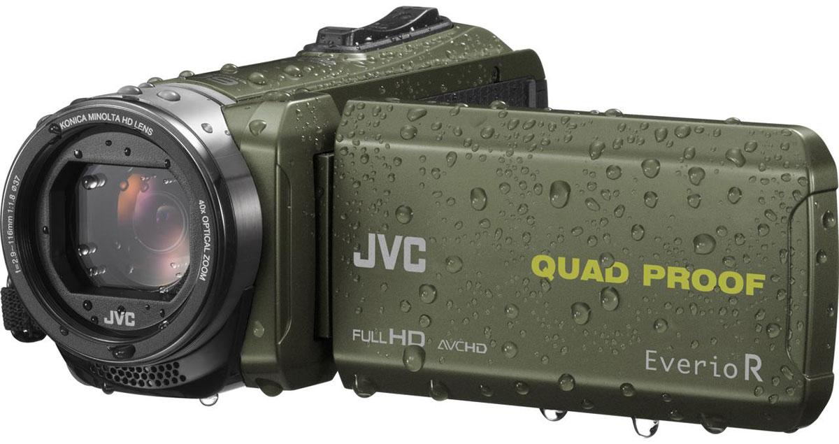 JVC GZ-R435GEU, Green цифровая видеокамераGZ-R435GEUJVC GZ-R435GEU - видеокамера с 4 степенями защиты Quad-Proof, встроенным аккумулятором, который обеспечит работу камеры до 5 часов и встроенной флеш-памятью объемом 4 Гб. Данная модель оснащена КМОП сенсором с разрешением 2,5 Мп с обратной подсветкой, 40-кратным оптическим зумом и системой стабилизации изображения. Видеокамера поддерживает запись при закрытом ЖК экране, а также оснащена резьбой 37 мм для установки светофильтров или широкоугольного конвертора. Модель водонепроницаема при погружении на глубину до 5 м. После активного дня, проведённого на свежем воздухе, её можно вымыть под проточной водой. Прочный корпус выдерживает падение с высоты до 1,5 м. Он защищён от влаги и пыли и рассчитан на работу в широком диапазоне температур. Аккумулятор встроен внутрь корпуса, что обеспечивает ещё более высокую защиту от влаги и позволяет существенно сократить опасность повреждения видеокамеры при замене батарей в плохую погоду.