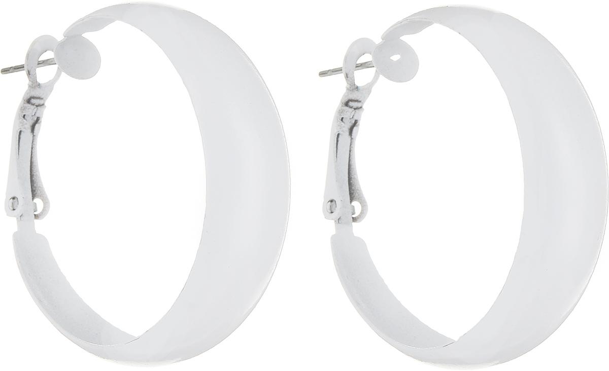 Серьги Art-Silver, цвет: белый. 50-0843-6050-0843-60Серьги-кольца Art-Silver выполнены из эмалированного бижутерного сплава. Изделие застегивается с итальянской застежки.