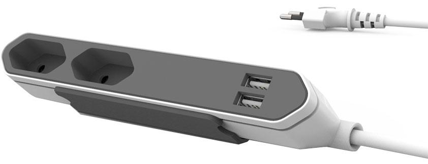 Allocacoc PowerBar USB сетевой удлинитель9102/PB2SEUPowerBar USB - компактный настольный удлинитель на 2 розетки и 2 USИ порта. Благодаря плоской конструкции PowerBar не занимает много места и удобен для подключения незаземленных устройств. В комплект входит специальное крепление, так что вам не составит труда зафиксировать PowerBar на столе или под столешницей. USB разъемы данного приспособления достаточно мощны, чтобы зарядить любое мобильное устройство!