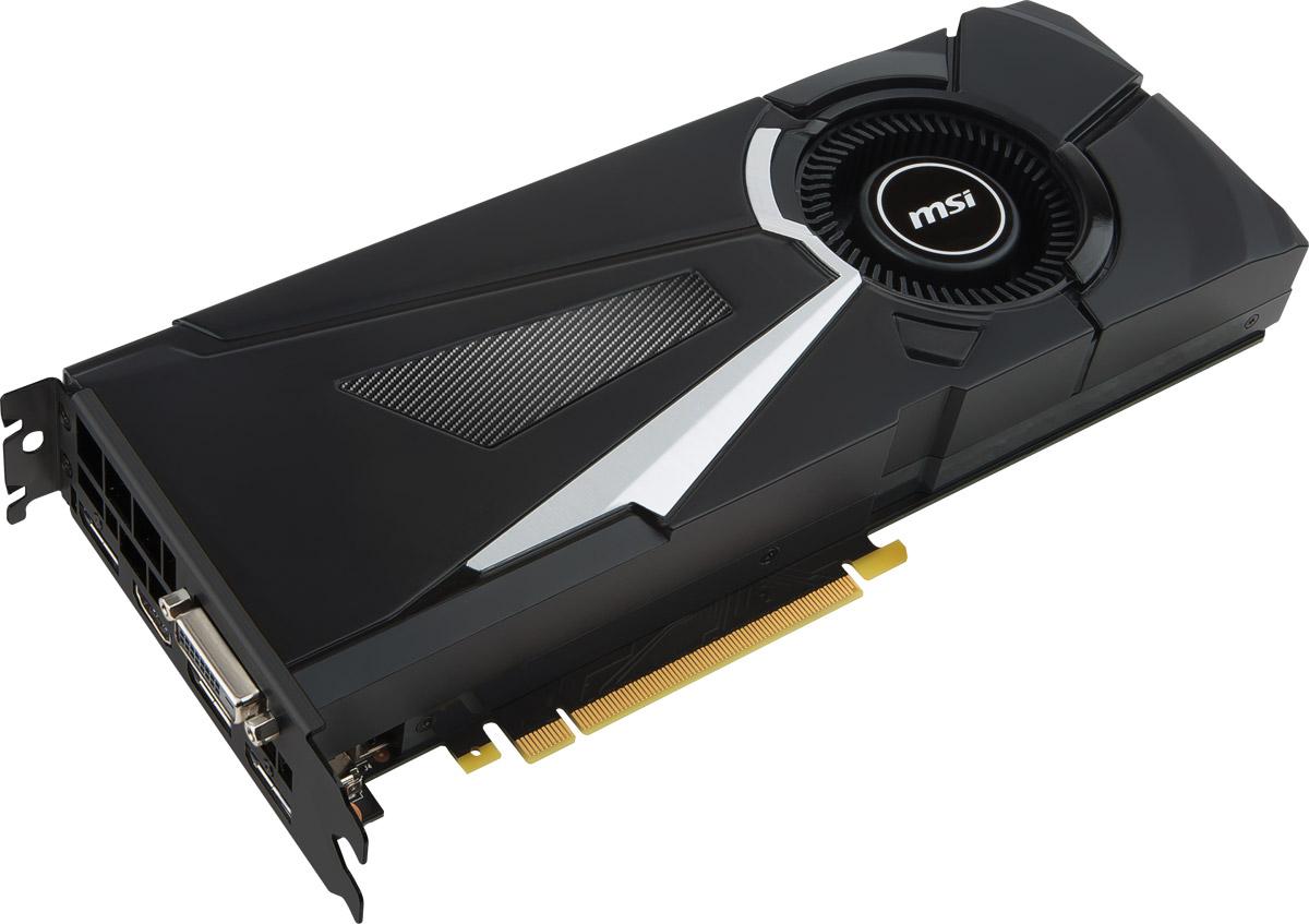 MSI GeForce GTX 1080 OC Aero 8Gb видеокарта (GTX 1080 AERO 8G OC)GTX 1080 AERO 8G OCВидеокарта 8Gb, GTX1080, GDDR5X, 256bit, HDCP, DVI, HDMI, 3 DP