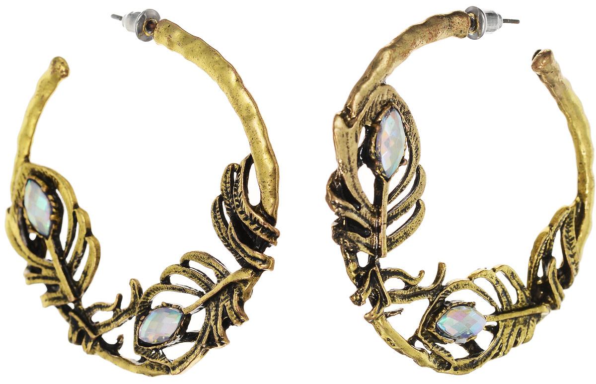 Серьги Art-Silver, цвет: золотой. 33849-36633849-366Серьги Art-Silver изготовлены из бижутерного сплава и выполнены в виде фигурных колец, оформленных вставками из камней. Изделие застегивается с помощью замка-гвоздика.