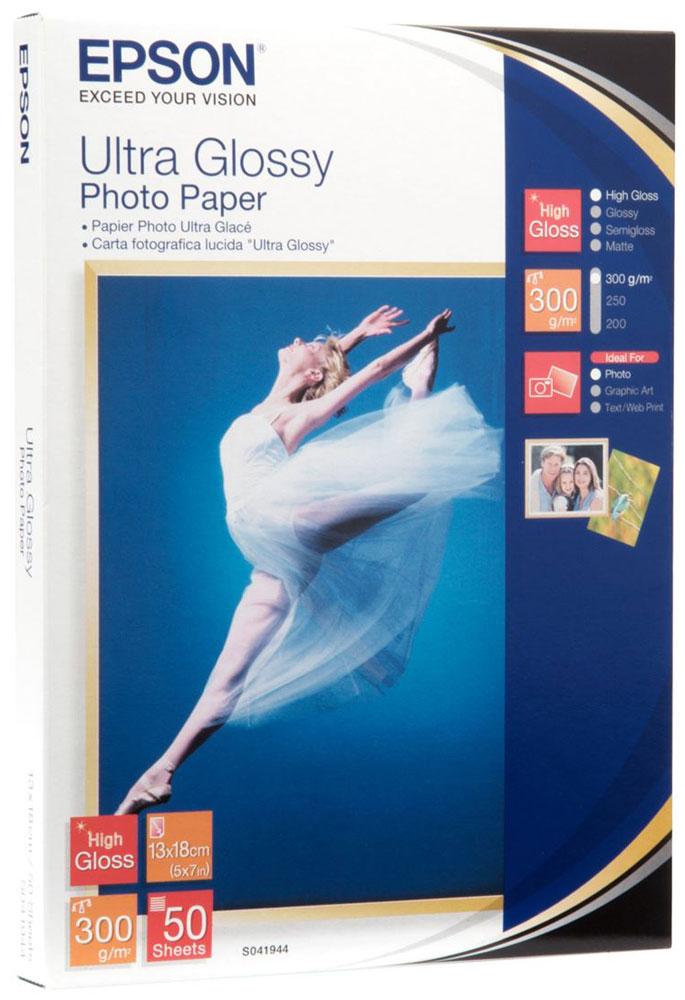 Epson C13S041944 Ultra Glossy фотобумага 13x18, 50 листовC13S041944Epson C13S041944 Ultra Glossy - высококачественная глянцевая бумага с полимерным покрытием, предназначенная для печати фотографий профессионального уровня. Отличается повышенной плотностью, белизной и высокой степенью глянца.