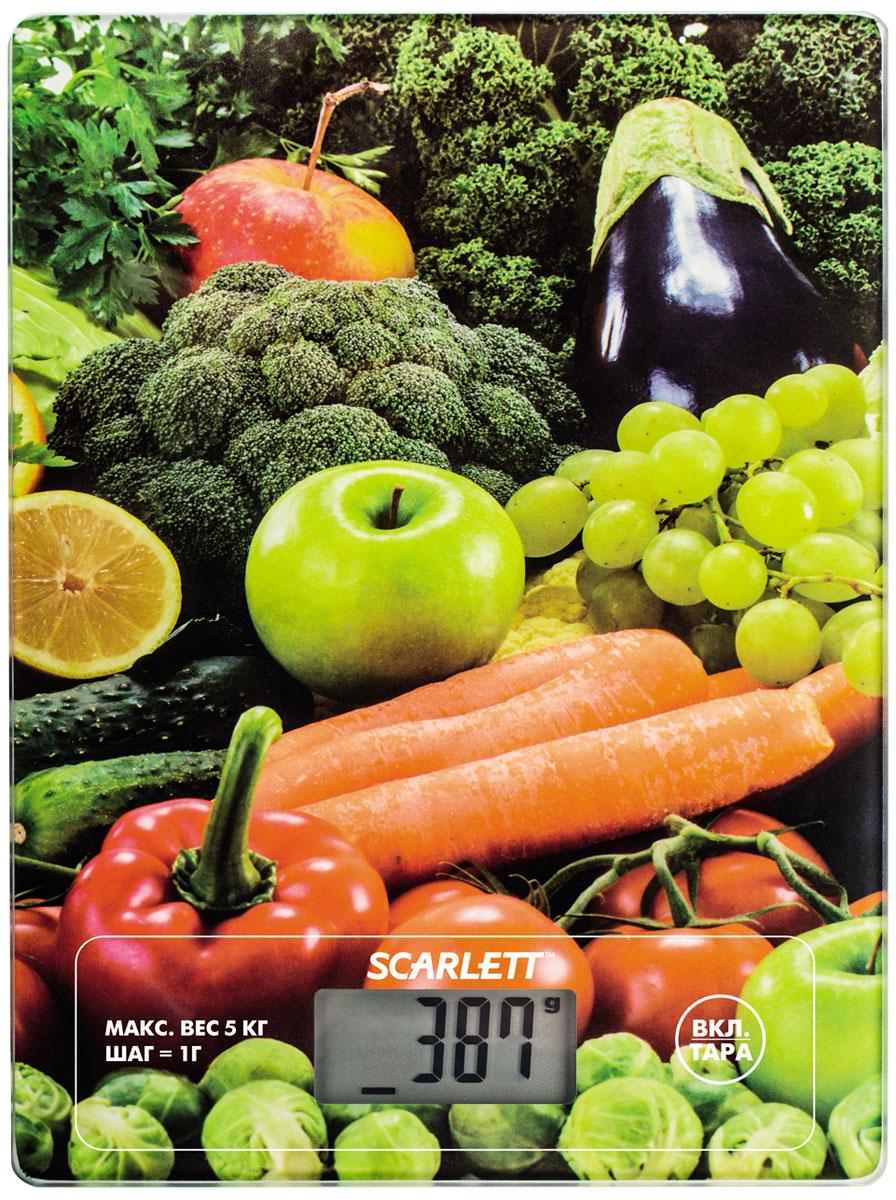 Scarlett SC-KS57P11 Fruits & Vegetables весы кухонныеSC-KS57P11Электронные кухонные весы Scarlett SC-KS57P11 станут незаменимым помощником на вашей кухне и позволят достаточно точно взвесить необходимое количество ингредиентов для любого блюда. За счет своих компактных размеров им найдется применение на любой, даже самой маленькой кухне, а яркий цветовой дизайн привлечет внимание. Платформа выполнена из закаленного стекла, а на цифровом табло отображаются все характеристики присущие электронным весам: тарокомпенсация, индикация перегрузки или заряда батареек. Несомненным плюсом данной модели является измерение объема жидкости.