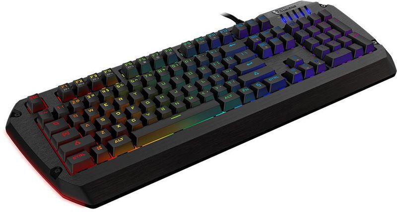 Tesoro Colada Evil Spectrum (Cherry MX Blue) игровая клавиатураTS-G3SFLМеханика Cherry MX Blue XL корпус с опорой для запястья RGB настраиваемая подсветка c боковыми зонами и 9 эффектами Программирование всех клавиш Блокировка Win и всех клавиш Встроенная память Кабель в оплетке Позолоченный коннектор USB Запись макросов налету 6-Key / N-Key Rollover USB порты и аудио интерфейс