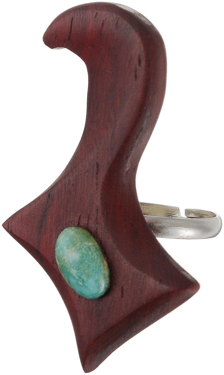 Кольцо фигурное с бирюзой, 4,5 х 2,5 см. Ручная работа. Автор Дмитрий ШульцВАН_ДШ_19Оригинальное кольцо ручной работы выполнено из натурального дерева с овальной вставкой из бирюзы. Крепление кольца изготовлено из металла. Кольцо универсального размера. Такое кольцо - это блестящее завершение вашего неповторимого, смелого образа и отличный подарок любительнице стильных вещиц! Ручная работа. Автор Дмитрий Шульц. Просим обратить ваше внимание на то, что работа, выполненная на заказ, может незначительно отличаться от представленной на фото, так как это авторская работа.