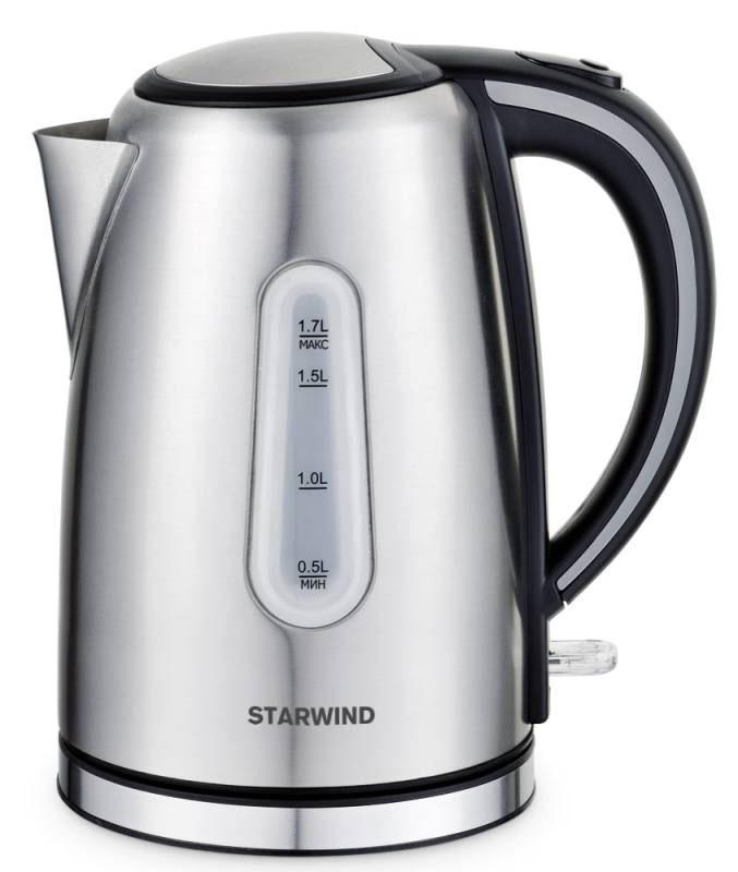 Starwind SKS5540, Silver чайник электрическийSKS5540Электрический чайник Starwind SKS5540 прост в управлении и долговечен в использовании. При его производстве используются высококачественные материалы. Прозрачное окошко позволяет определить уровень воды. Мощность 2200 Вт быстро вскипятит 1,7 литра воды. Для обеспечения безопасности при повседневном использовании предусмотрены функция автовыключения, а также защита от включения при отсутствии воды. Контроллер STRIX KEAI