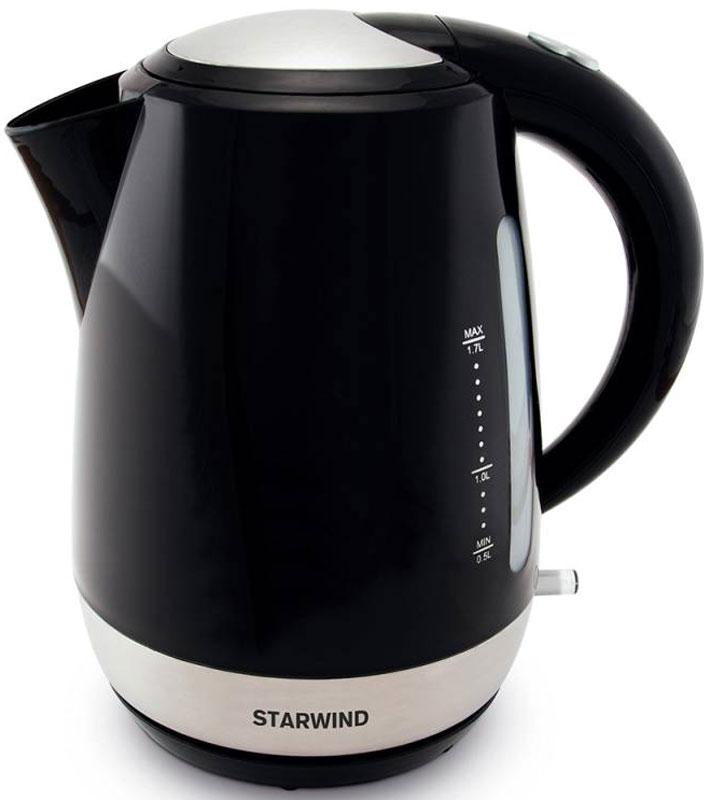Starwind SKP4622, Black чайник электрическийSKP4622Электрический чайник Starwind SKP4622 прост в управлении и долговечен в использовании. При его производстве используются высококачественные материалы. Прозрачное окошко позволяет определить уровень воды. Мощность 2000 Вт быстро вскипятит 1,7 литра воды. Для обеспечения безопасности при повседневном использовании предусмотрены функция автовыключения, а также защита от включения при отсутствии воды. Контроллер STRIX