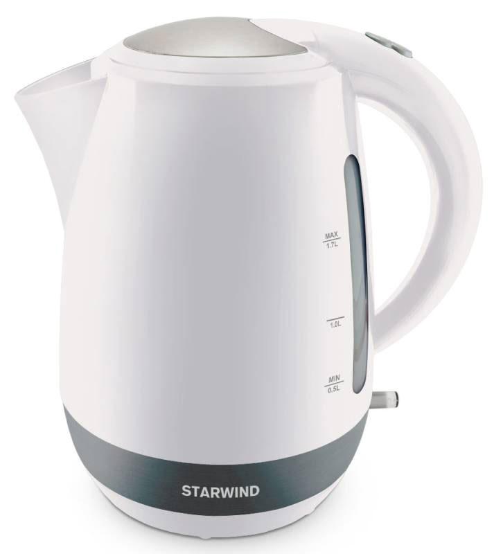 Starwind SKP4621, White чайник электрическийSKP4621Электрический чайник Starwind SKP4621 прост в управлении и долговечен в использовании. При его производстве используются высококачественные материалы. Прозрачное окошко позволяет определить уровень воды. Мощность 2000 Вт быстро вскипятит 1,7 литра воды. Для обеспечения безопасности при повседневном использовании предусмотрены функция автовыключения, а также защита от включения при отсутствии воды. Контроллер STRIX