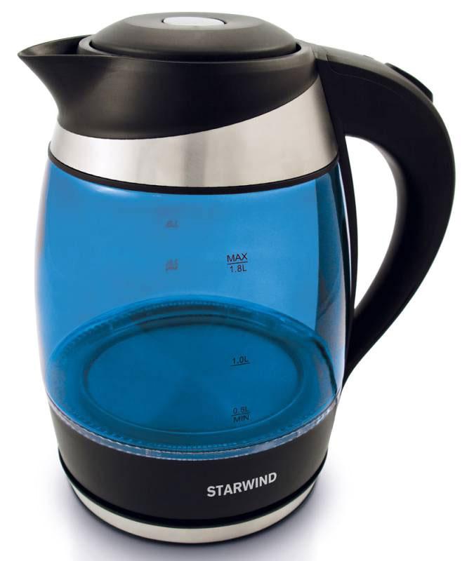 Starwind SKG2216, Blue Black чайник электрическийSKG2216Электрический чайник Starwind SKG2216 прост в управлении и долговечен в использовании. При его производстве используются высококачественные материалы. Мощность 2200 Вт быстро вскипятит 1,8 литра воды. Для обеспечения безопасности при повседневном использовании предусмотрена функция автовыключения.